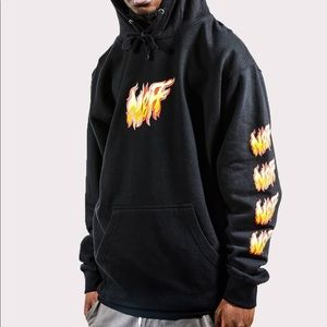 NWT NEFF black fire flame hoodie fleece red NEW M